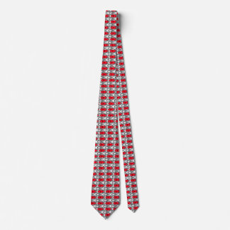Mid-Century Modern fish, red and grey / gray Tie