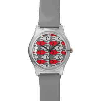 Mid-Century Modern fish, red and grey / gray Wristwatches