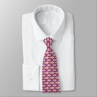 Mid-Century Modern fish, shades of coral Neck Tie