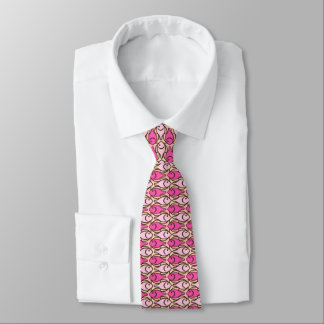Mid-Century Modern fish, shades of coral pink Neck Tie