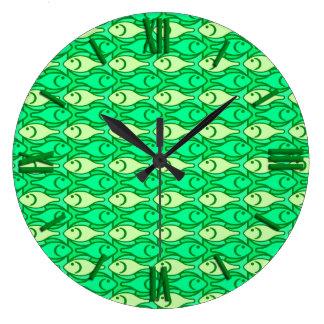 Mid-Century Modern fish, shades of lime green Wallclocks
