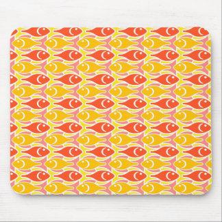 Mid-Century Modern fish, tangerine orange Mouse Pad