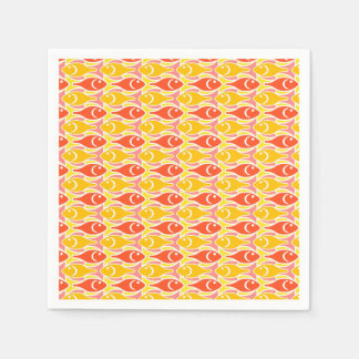 Mid-Century Modern fish, tangerine orange Napkin