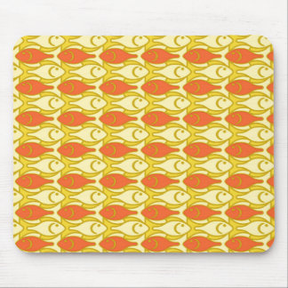 Mid-Century Modern fish, yellow and orange Mouse Pad