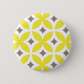 Mid-Century Modern Flower Pattern Pinback Button
