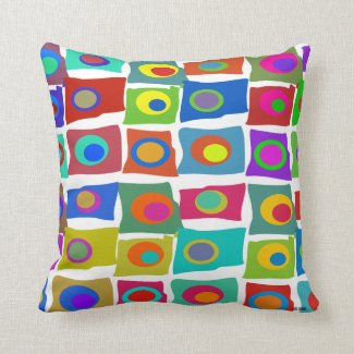 Mid-Century Modern Funky Abstract Squares Pillow