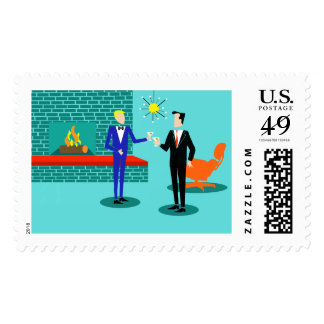 Mid Century Modern Gay Couple Postage Stamps