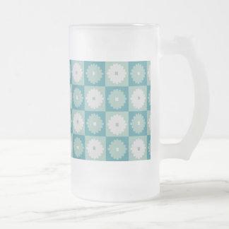 Mid Century Modern Geometric Flowers Frosted Mug