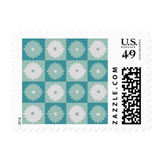 Mid Century Modern Geometric Flowers Postage Stamp
