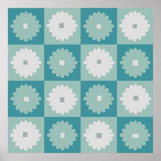 Mid Century Modern Geometric Flowers Poster