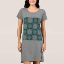 Mid Century Modern Geometric Flowers T-Shirt Dress