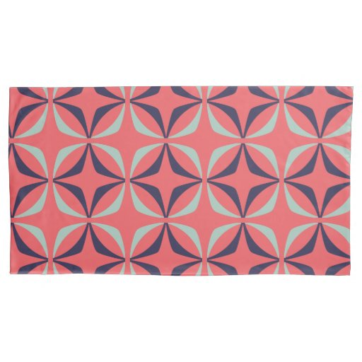 Mid Century Modern Geometric Pattern in Navy Coral Pillow Case