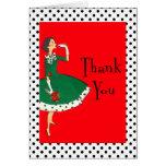 Mid Century Modern Girl Retro Holiday Thank You Card
