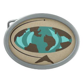 Mid Century Modern Globe Art Belt Buckle