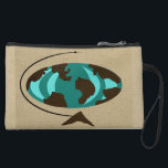 """Mid Century Modern Globe Art Mini Clutch<br><div class=""""desc"""">Travel around the world with this Customizable Mid Century Modern Globe Art Mini Clutch. The front design features an abstract oval globe with wood grain continents. The oceans are in shades of teal and turquoise. The globe is on a triangular wooden stand and the whole world is on a wheat...</div>"""
