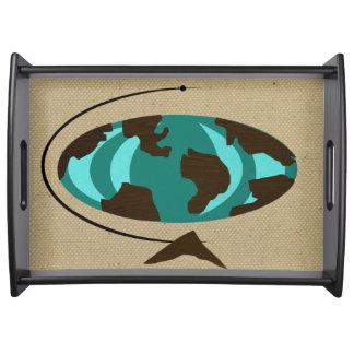 Mid Century Modern Globe Art Serving Tray
