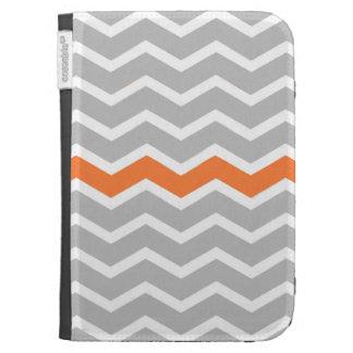 Mid Century Modern Gray Chevron with Orange Case For Kindle