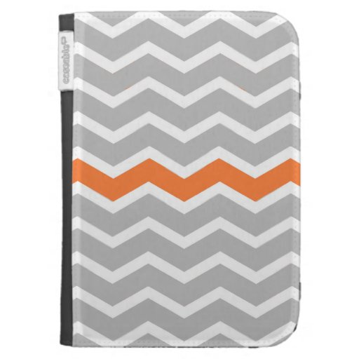 Mid Century Modern Gray Chevron with Orange Kindle 3 Case