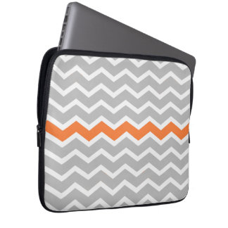Mid Century Modern Gray Chevron with Orange Computer Sleeve