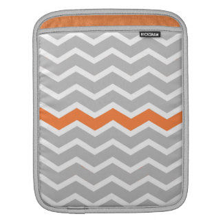 Mid Century Modern Gray Chevron with Orange Sleeves For iPads