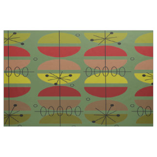 Mid-Century Modern Green Abstract Fabric