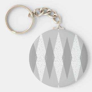 Mid Century Modern Grey Argyle Button Keychain