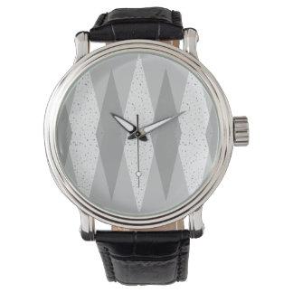Mid Century Modern Grey Argyle Leather Watch