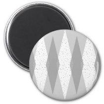 Mid Century Modern Grey Argyle Round Magnet