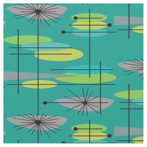Mid Century Modern Half Moons Design Fabric 25 Zazzle