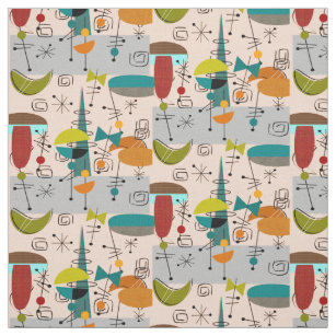 Mid Century Modern Half Moons Design Fabric 9