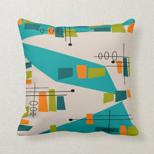 Mid-Century Modern Inspired Atomic #78 Pillow Zazzle