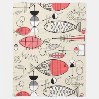 Mid-Century Modern Inspired Fish Art Fleece Blanket