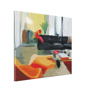 Mid Century Modern Living Room Gallery Wrapped Canvas