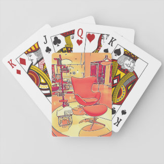 Mid Century Modern Living Room playing cards