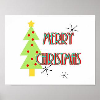 mid century modern merry christmas tree retro poster