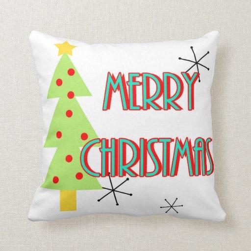 mid century modern merry christmas trees retro throw pillow Zazzle