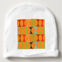 Mid Century Modern Orange Pattern Baby Beanie