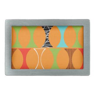 Mid Century Modern Orange Pattern Belt Buckle