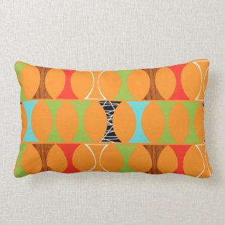 Mid Century Modern Orange Pattern Lumbar Pillow