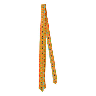 Mid Century Modern Orange Pattern Men's Tie