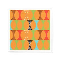 Mid Century Modern Orange Pattern Paper Napkins