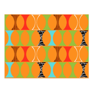 Mid Century Modern Orange Pattern Postcard