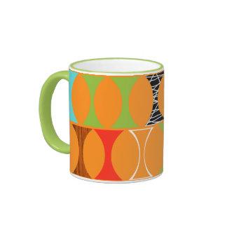 Mid Century Modern Orange Pattern Ringer Mug