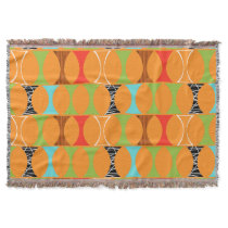 Mid Century Modern Orange Pattern Throw Blanket