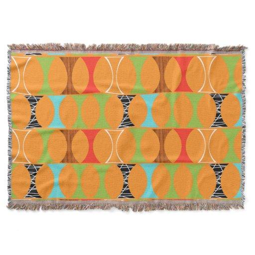 Mid Century Modern Orange Pattern Throw Blanket