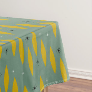 Etonnant Mid Century Modern Ovals, Starbursts, Gold On Teal Tablecloth