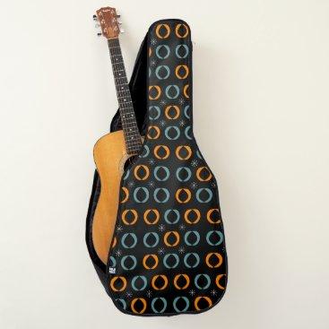 Beach Themed Mid Century Modern, Ovals, Stars Teal Orange Black Guitar Case