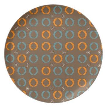 Beach Themed Mid Century Modern, Ovals, Stars Teal Orange Brown Dinner Plate