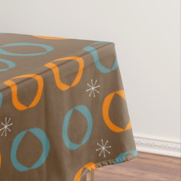 Beach Themed Mid Century Modern, Ovals, Stars Teal Orange Brown Tablecloth