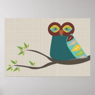 Mid Century Modern Owl Poster